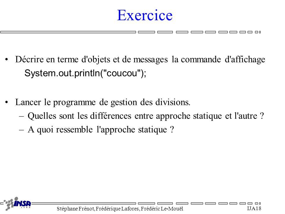 Stéphane Frénot, Frédérique Lafores, Frédéric Le-Mouël IJA18 Exercice Décrire en terme d'objets et de messages la commande d'affichage System.out.prin