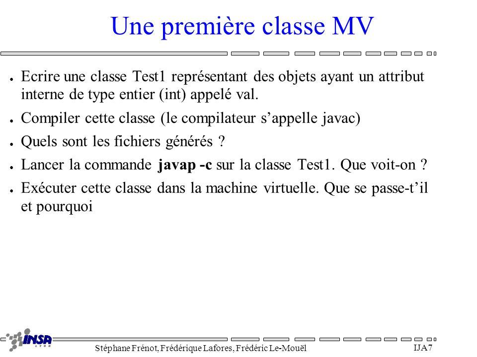 Stéphane Frénot, Frédérique Lafores, Frédéric Le-Mouël IJA8 Une classe cliente Ecrire une classe Test2 cliente de la première (qui utilise des référence sur des objets de la première) qui possède deux attributs (att1, att2) de type Test1.