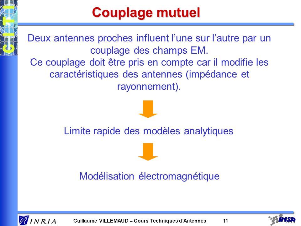 Guillaume VILLEMAUD – Cours Techniques dAntennes 11 Couplage mutuel Deux antennes proches influent lune sur lautre par un couplage des champs EM. Ce c