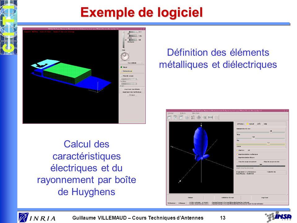 Guillaume VILLEMAUD – Cours Techniques dAntennes 13 Exemple de logiciel Définition des éléments métalliques et diélectriques Calcul des caractéristiqu