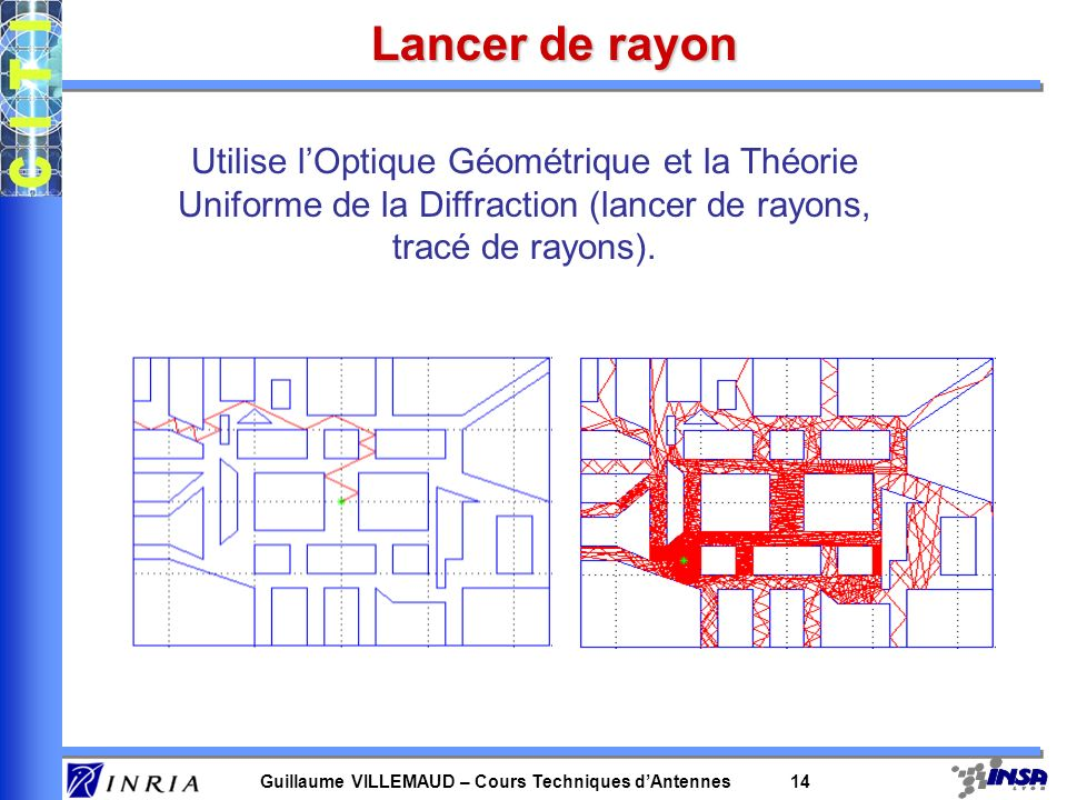 Guillaume VILLEMAUD – Cours Techniques dAntennes 14 Lancer de rayon Utilise lOptique Géométrique et la Théorie Uniforme de la Diffraction (lancer de r
