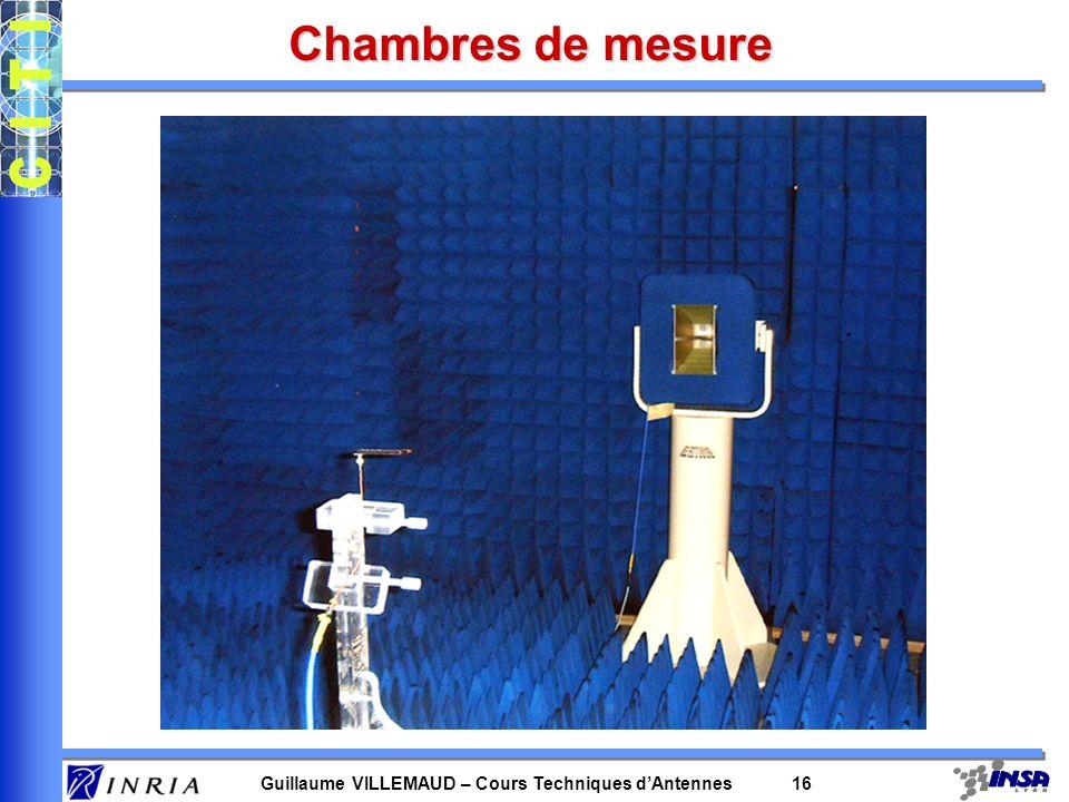 Guillaume VILLEMAUD – Cours Techniques dAntennes 16 Chambres de mesure