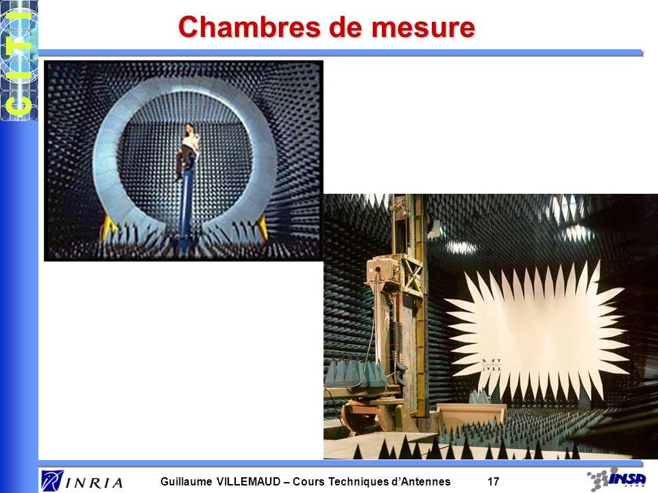 Guillaume VILLEMAUD – Cours Techniques dAntennes 17 Chambres de mesure