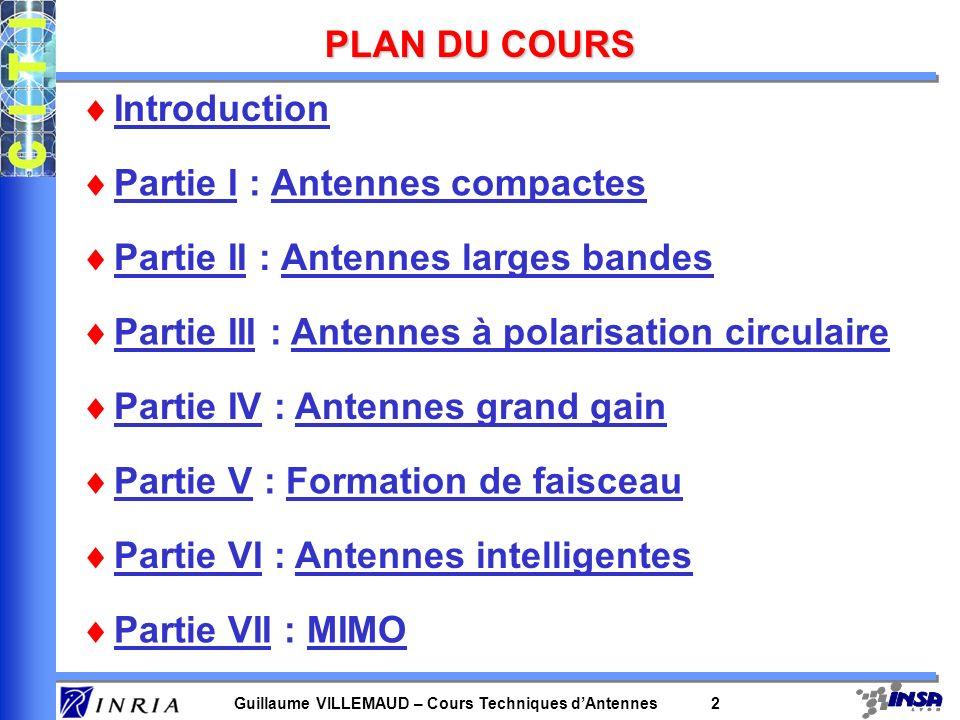 Guillaume VILLEMAUD – Cours Techniques dAntennes 2 PLAN DU COURS Introduction Partie I : Antennes compactes Partie II : Antennes larges bandes Partie