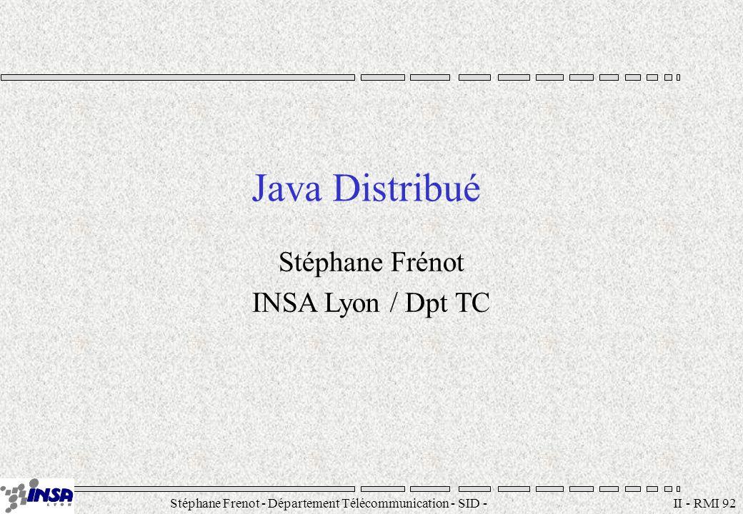 Stéphane Frenot - Département Télécommunication - SID - stephane.frenot@insa-lyon.fr II - RMI 92 Java Distribué Stéphane Frénot INSA Lyon / Dpt TC