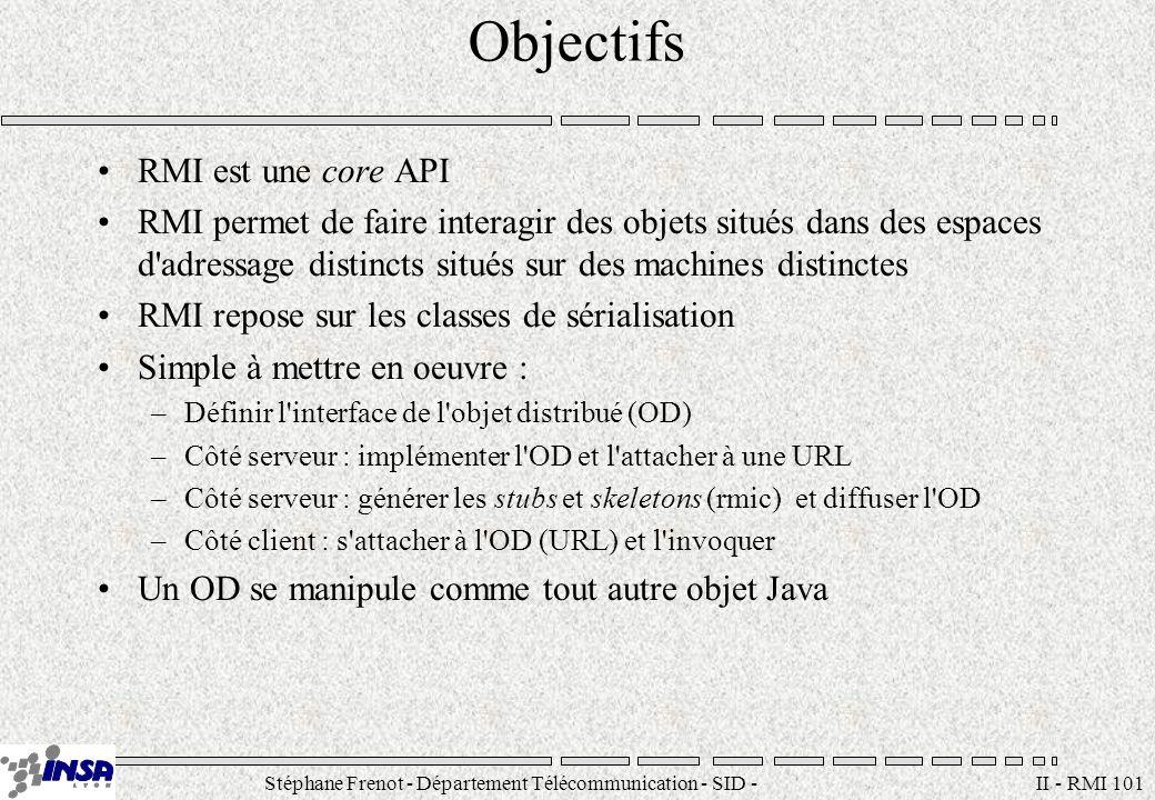 Stéphane Frenot - Département Télécommunication - SID - stephane.frenot@insa-lyon.fr II - RMI 101 Objectifs RMI est une core API RMI permet de faire i