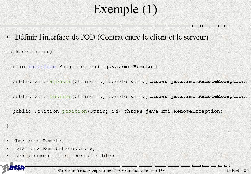 Stéphane Frenot - Département Télécommunication - SID - stephane.frenot@insa-lyon.fr II - RMI 106 Exemple (1) Définir l'interface de l'OD (Contrat ent