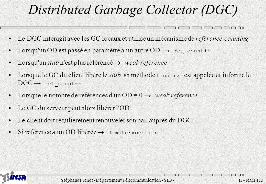 Stéphane Frenot - Département Télécommunication - SID - stephane.frenot@insa-lyon.fr II - RMI 113 Distributed Garbage Collector (DGC) Le DGC interagit