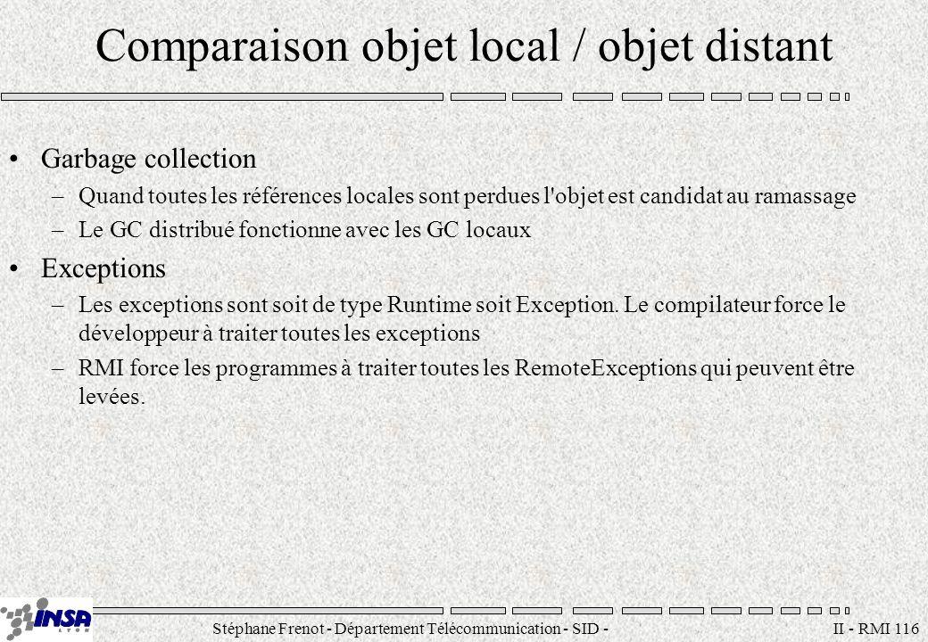 Stéphane Frenot - Département Télécommunication - SID - stephane.frenot@insa-lyon.fr II - RMI 116 Comparaison objet local / objet distant Garbage coll