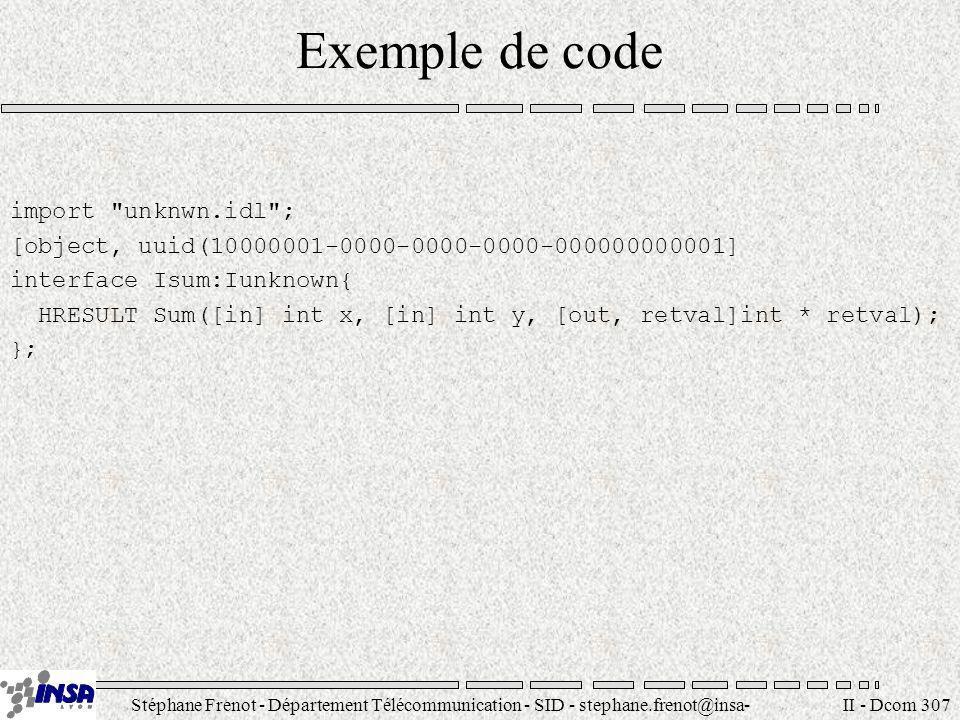 Stéphane Frenot - Département Télécommunication - SID - stephane.frenot@insa- lyon.fr II - Dcom 307 Exemple de code import