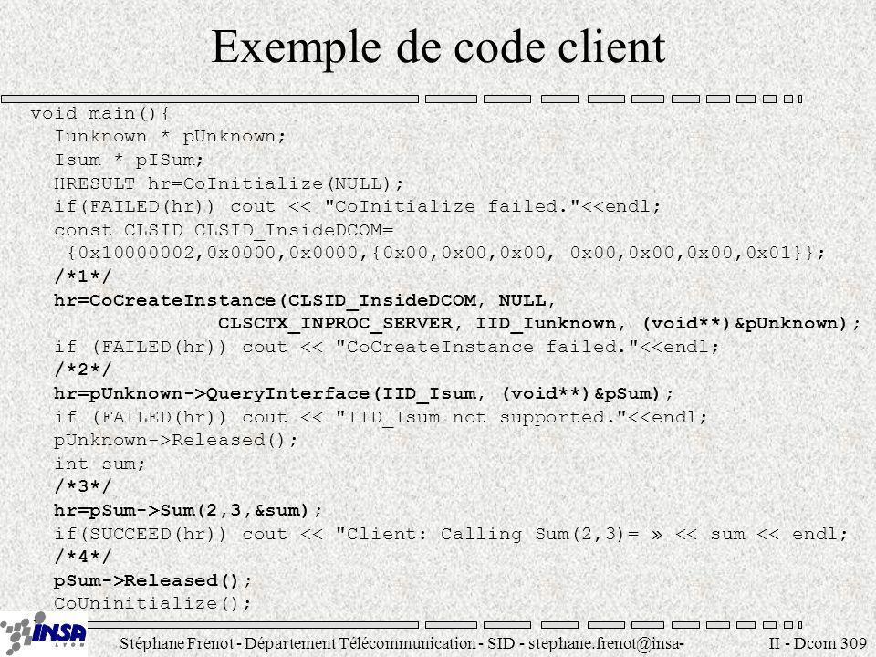 Stéphane Frenot - Département Télécommunication - SID - stephane.frenot@insa- lyon.fr II - Dcom 309 Exemple de code client void main(){ Iunknown * pUn