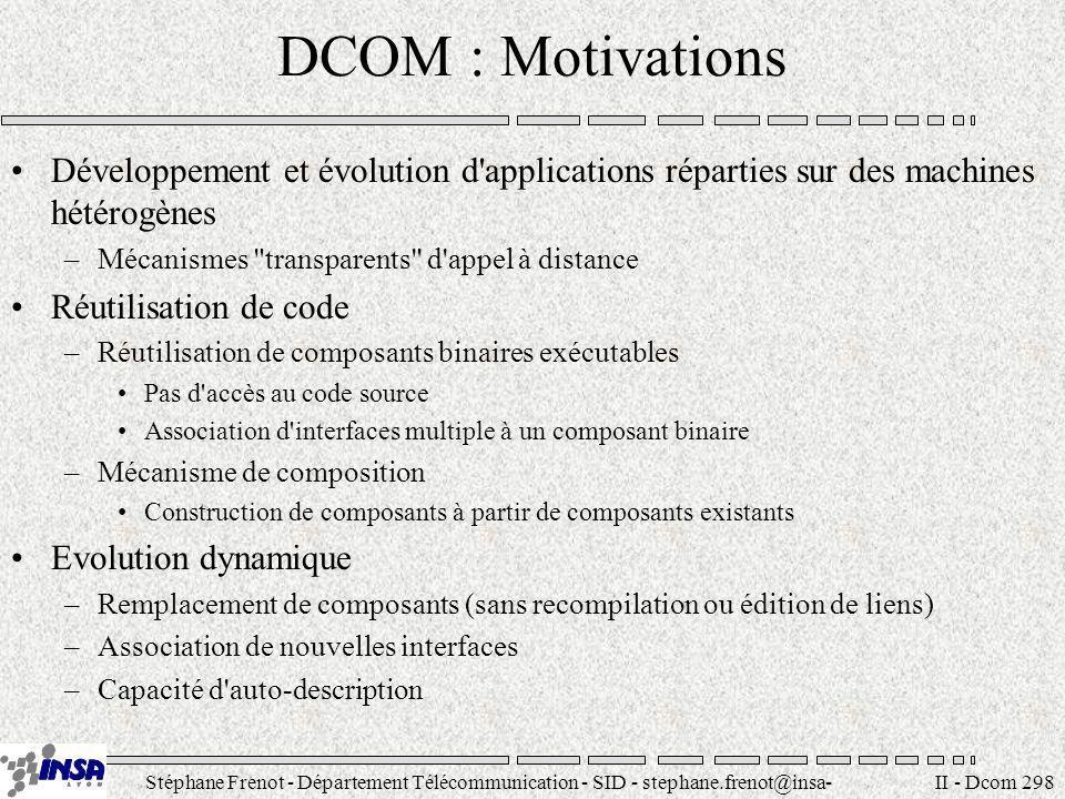 Stéphane Frenot - Département Télécommunication - SID - stephane.frenot@insa- lyon.fr II - Dcom 298 DCOM : Motivations Développement et évolution d'ap