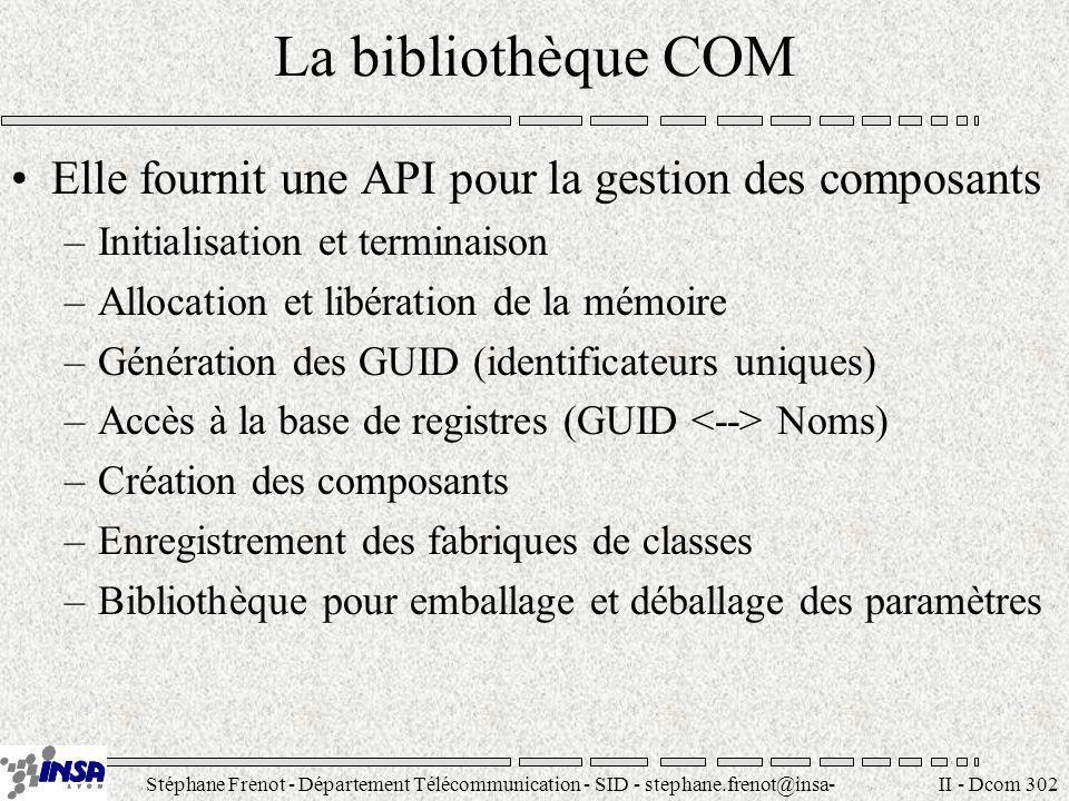 Stéphane Frenot - Département Télécommunication - SID - stephane.frenot@insa- lyon.fr II - Dcom 302 La bibliothèque COM Elle fournit une API pour la g