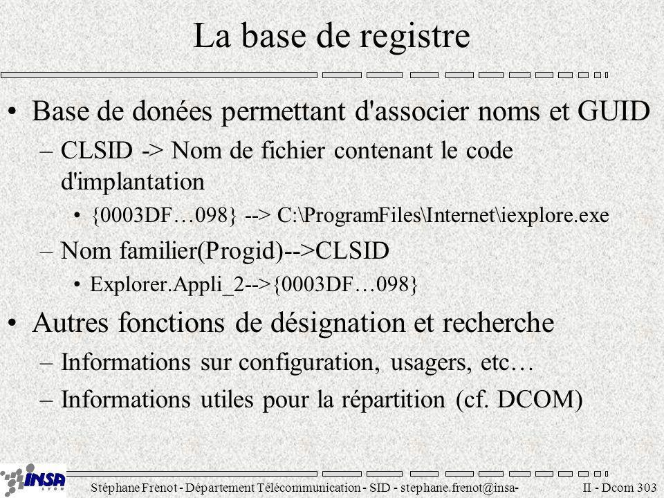 Stéphane Frenot - Département Télécommunication - SID - stephane.frenot@insa- lyon.fr II - Dcom 303 La base de registre Base de donées permettant d'as
