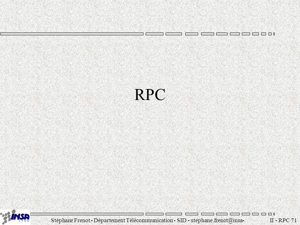 Stéphane Frenot - Département Télécommunication - SID - stephane.frenot@insa- lyon.fr II - RPC 72 RPC Remote Procedure Call : –Possibilité d invocation de procédures situées en dehors de l espace d adressage de l application courante Système RPC –Collection de logiciels nécessaire pour supporter la programmation RPC ainsi que le support à lexécution (run-time services)