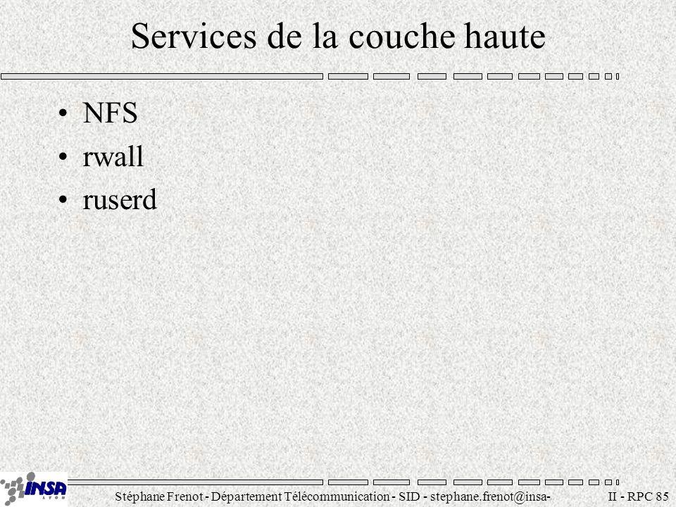 Stéphane Frenot - Département Télécommunication - SID - stephane.frenot@insa- lyon.fr II - RPC 85 Services de la couche haute NFS rwall ruserd