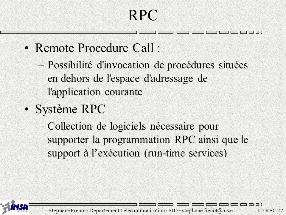 Stéphane Frenot - Département Télécommunication - SID - stephane.frenot@insa- lyon.fr II - RPC 83 Flux client / serveur Processus Emetteur Flot XDR d encodage Flot XDR de décodage Processus Récepteur Encodage (sérialisation) Décodage (desérialisation) Transfert