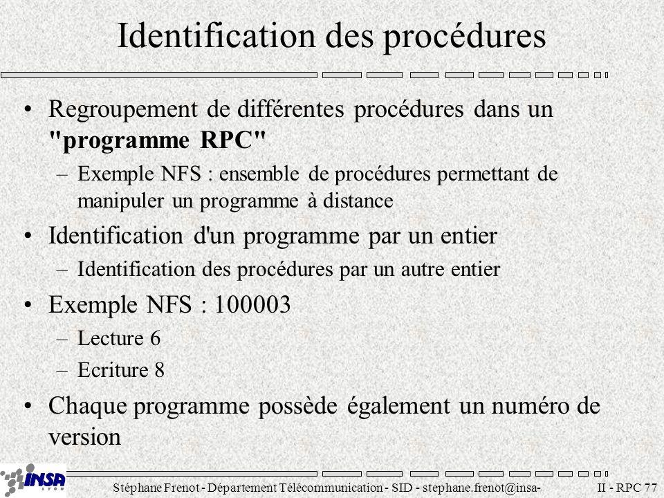 Stéphane Frenot - Département Télécommunication - SID - stephane.frenot@insa- lyon.fr II - RPC 88 Exemple serveur #include #include exemple.h char *add(); char * mult(); char * rac(); main(){ int rep; rep=registerrpc(ARITH_PROG, ARITH_VERS1, ADD_PROC, add, xdr_couple, xdr_float); if (rep==-1){ fprintf(stderr, errreur registerrpc (add)\n ); exit(2); }