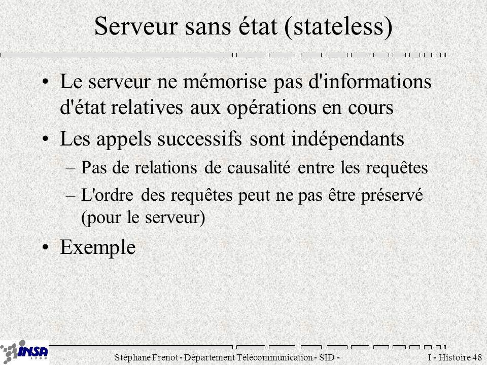 Stéphane Frenot - Département Télécommunication - SID - stephane.frenot@insa-lyon.fr I - Histoire 48 Serveur sans état (stateless) Le serveur ne mémor