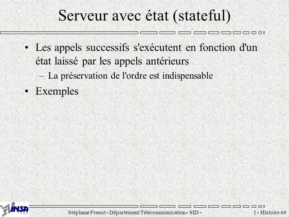 Stéphane Frenot - Département Télécommunication - SID - stephane.frenot@insa-lyon.fr I - Histoire 49 Serveur avec état (stateful) Les appels successif