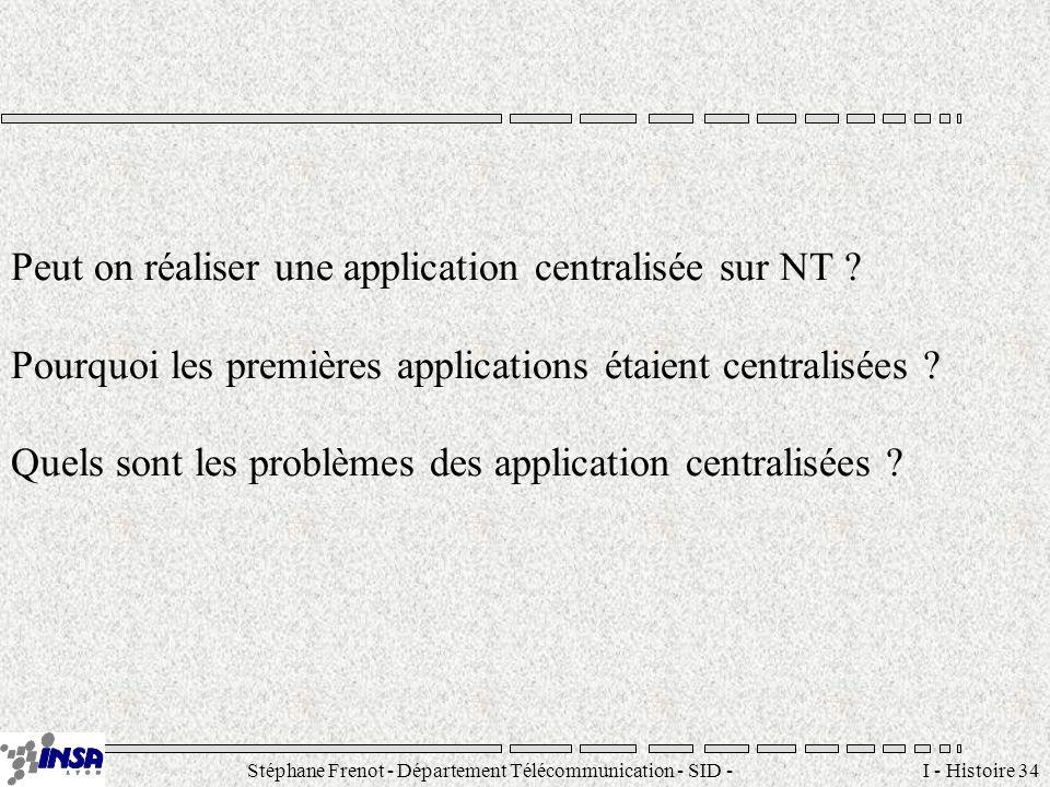Stéphane Frenot - Département Télécommunication - SID - stephane.frenot@insa-lyon.fr I - Histoire 34 Peut on réaliser une application centralisée sur