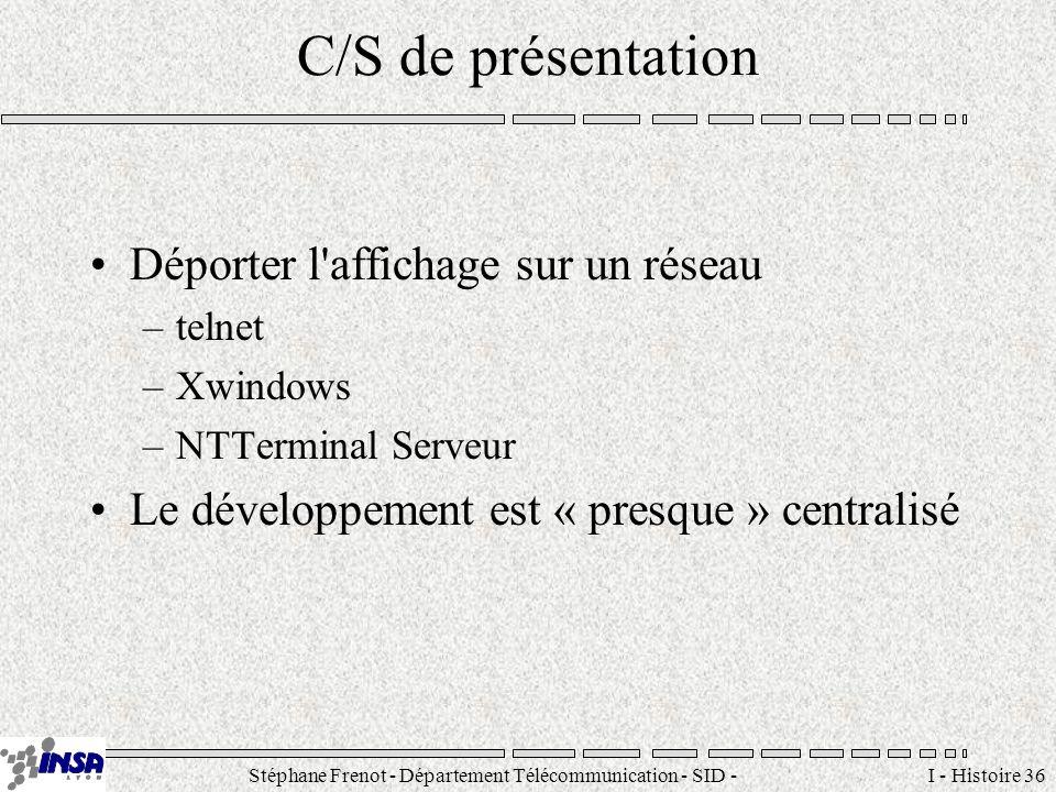 Stéphane Frenot - Département Télécommunication - SID - stephane.frenot@insa-lyon.fr I - Histoire 36 C/S de présentation Déporter l'affichage sur un r
