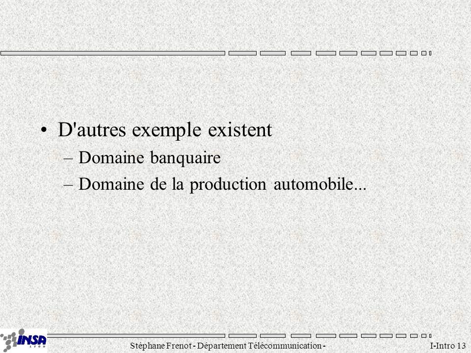 Stéphane Frenot - Département Télécommunication - SID - stephane.frenot@insa-lyon.fr I-Intro 13 D'autres exemple existent –Domaine banquaire –Domaine