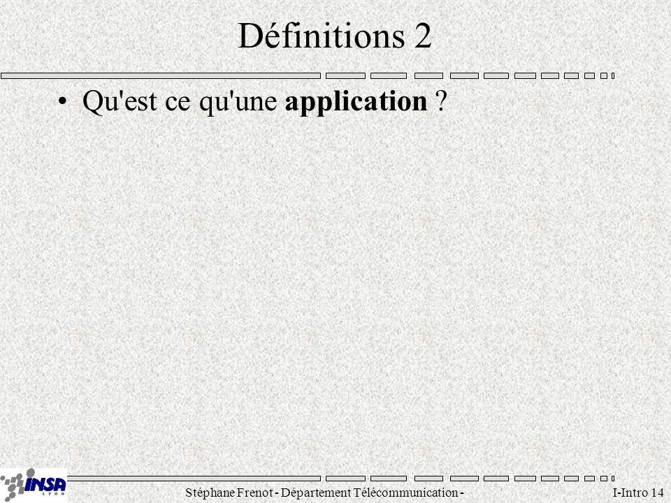 Stéphane Frenot - Département Télécommunication - SID - stephane.frenot@insa-lyon.fr I-Intro 14 Définitions 2 Qu'est ce qu'une application ?