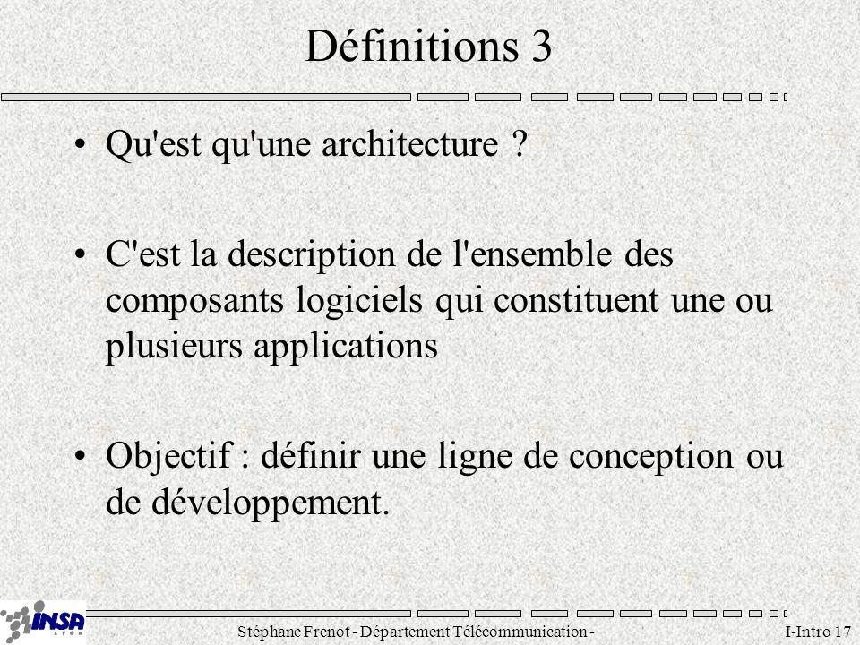 Stéphane Frenot - Département Télécommunication - SID - stephane.frenot@insa-lyon.fr I-Intro 17 Définitions 3 Qu'est qu'une architecture ? C'est la de