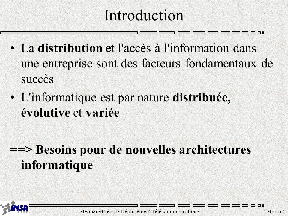 Stéphane Frenot - Département Télécommunication - SID - stephane.frenot@insa-lyon.fr I-Intro 4 Introduction La distribution et l'accès à l'information