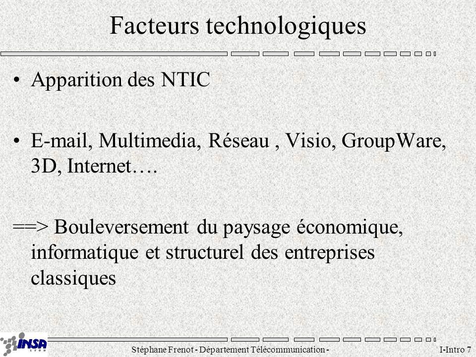 Stéphane Frenot - Département Télécommunication - SID - stephane.frenot@insa-lyon.fr I-Intro 18 Architectures Architecture technique: ensemble de composants techniques (machines, réseaux, logiciels de base) permettant de bâtir une solution informatique.
