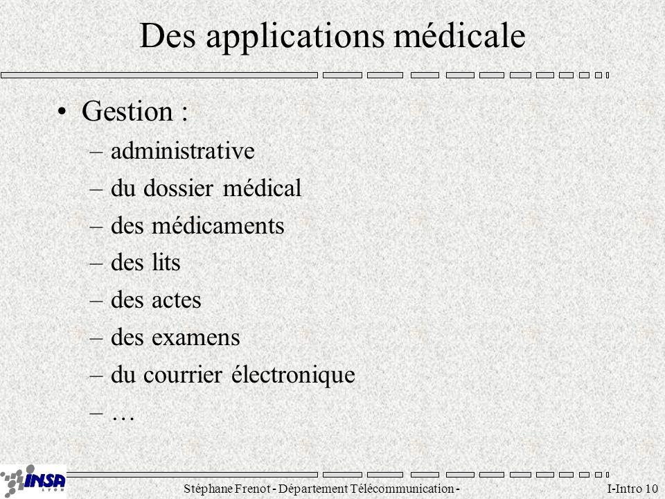 Stéphane Frenot - Département Télécommunication - SID - stephane.frenot@insa-lyon.fr I-Intro 10 Des applications médicale Gestion : –administrative –d