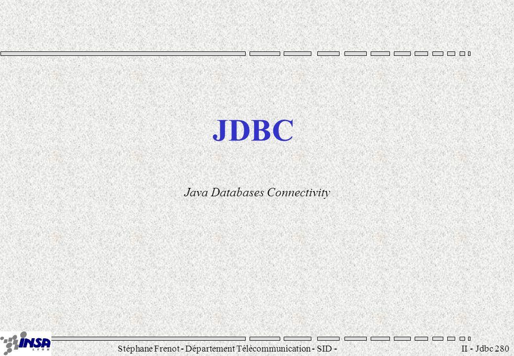 Stéphane Frenot - Département Télécommunication - SID - stephane.frenot@insa-lyon.fr II - Jdbc 281 Objectifs Fournir un accès homogène aux SGBDR Abstraction des SGBDR cibles Requêtes SQL Simple à mettre en oeuvre Core API (1.1)