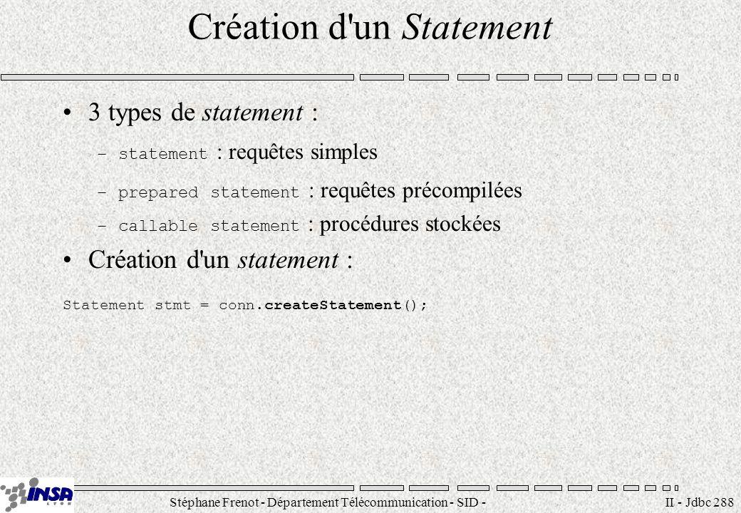Stéphane Frenot - Département Télécommunication - SID - stephane.frenot@insa-lyon.fr II - Jdbc 288 Création d'un Statement 3 types de statement : –sta