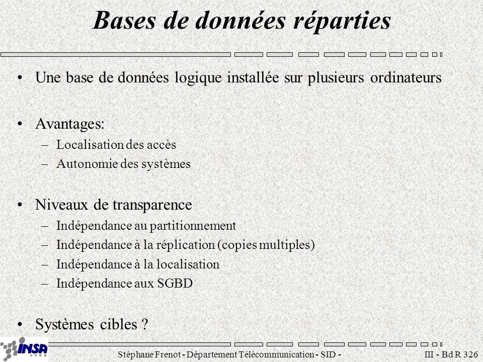 Stéphane Frenot - Département Télécommunication - SID - stephane.frenot@insa-lyon.fr III - Bd R 326 Bases de données réparties Une base de données log