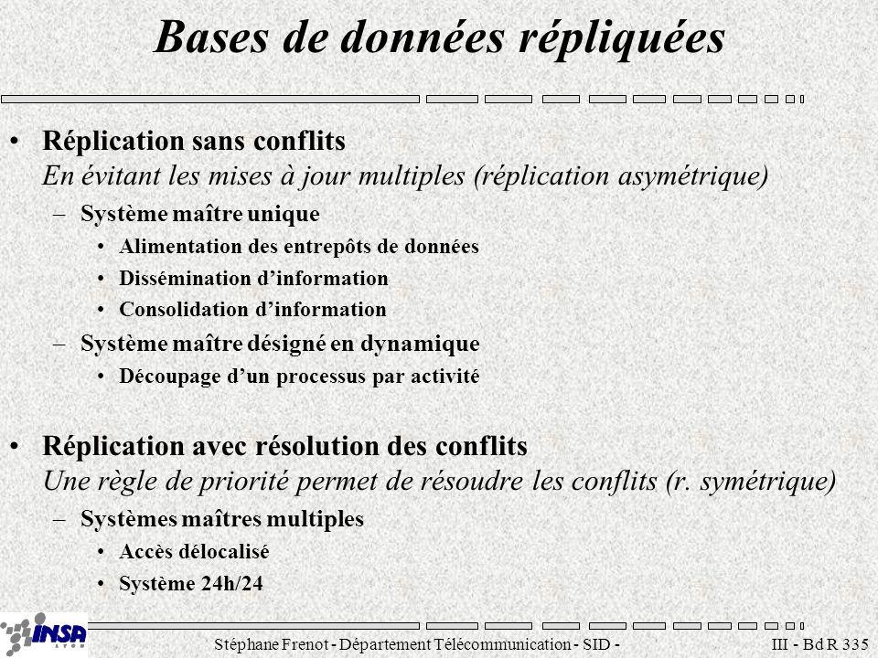 Stéphane Frenot - Département Télécommunication - SID - stephane.frenot@insa-lyon.fr III - Bd R 335 Bases de données répliquées Réplication sans confl