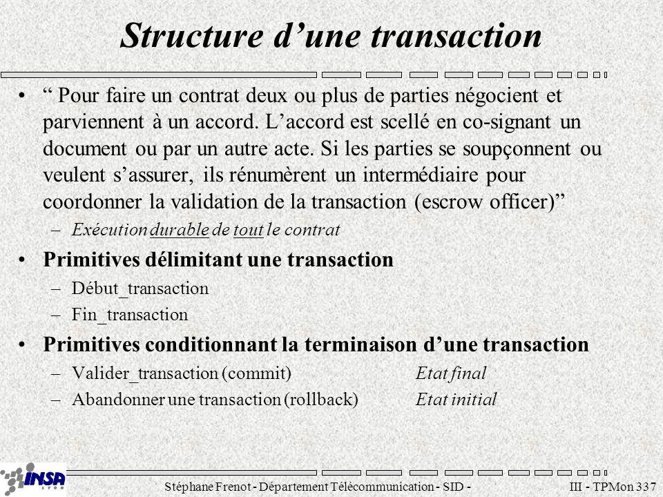 Stéphane Frenot - Département Télécommunication - SID - stephane.frenot@insa-lyon.fr III - TPMon 348 Pourquoi un gestionnaire de transactions .