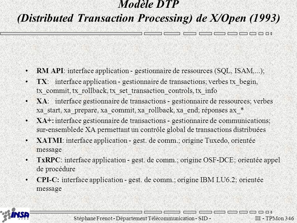 Stéphane Frenot - Département Télécommunication - SID - stephane.frenot@insa-lyon.fr III - TPMon 346 Modèle DTP (Distributed Transaction Processing) d
