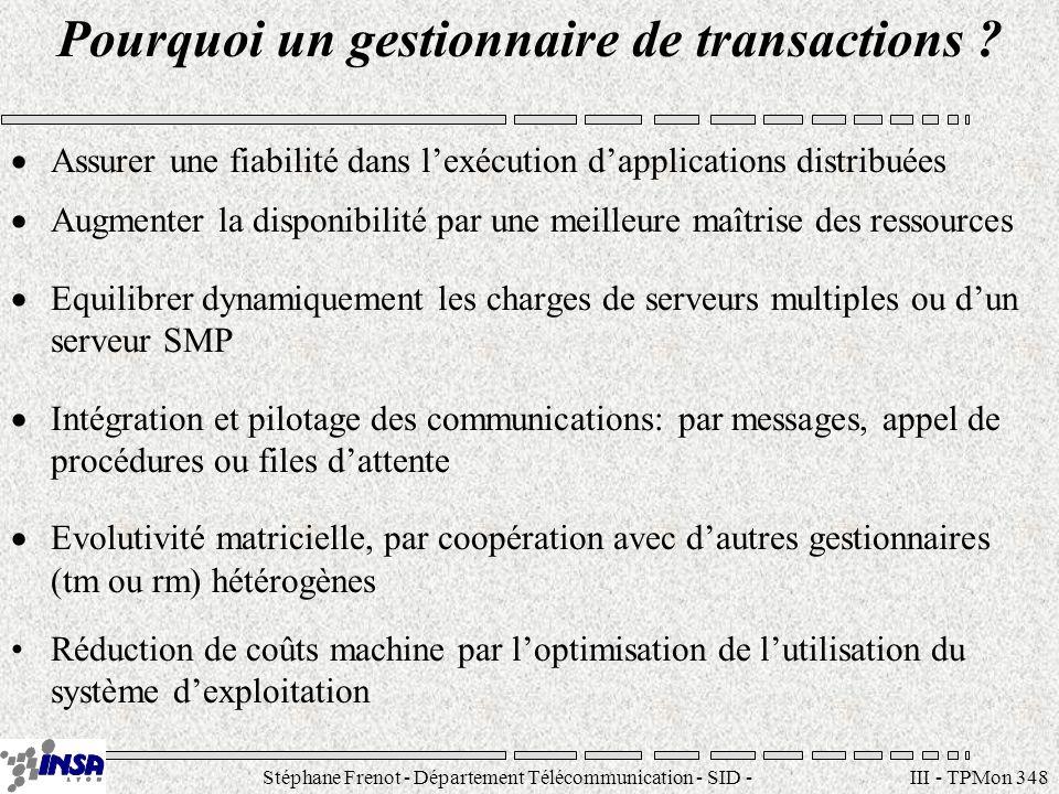 Stéphane Frenot - Département Télécommunication - SID - stephane.frenot@insa-lyon.fr III - TPMon 348 Pourquoi un gestionnaire de transactions ? Assure