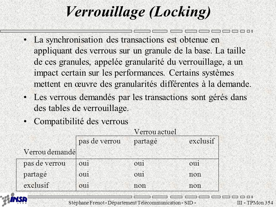 Stéphane Frenot - Département Télécommunication - SID - stephane.frenot@insa-lyon.fr III - TPMon 354 Verrouillage (Locking) La synchronisation des transactions est obtenue en appliquant des verrous sur un granule de la base.