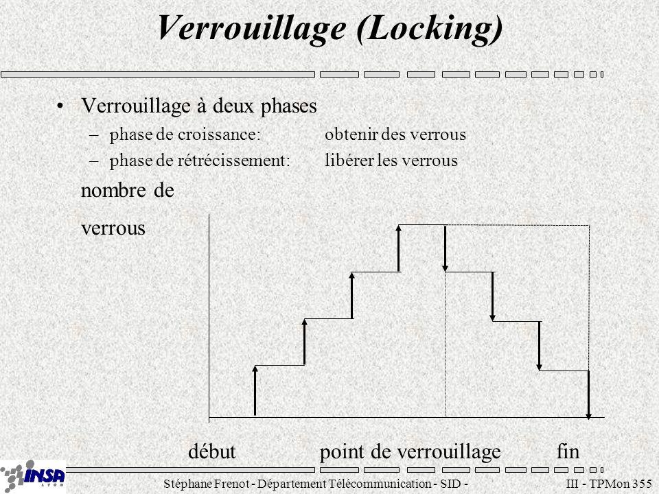 Stéphane Frenot - Département Télécommunication - SID - stephane.frenot@insa-lyon.fr III - TPMon 355 Verrouillage (Locking) Verrouillage à deux phases
