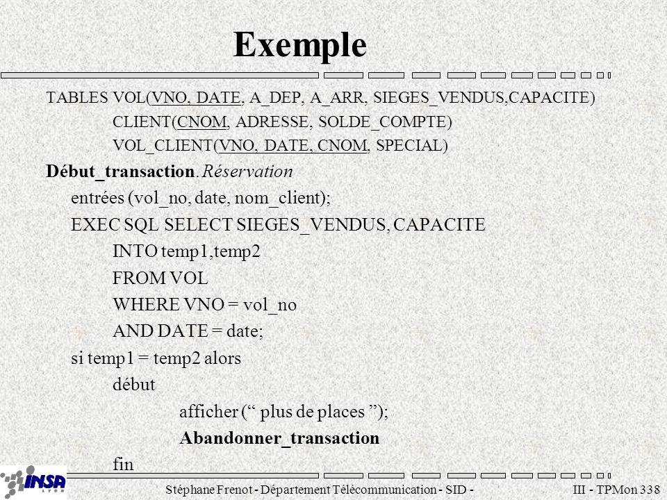 Stéphane Frenot - Département Télécommunication - SID - stephane.frenot@insa-lyon.fr III - TPMon 339 Exemple (suite) sinon début EXEQ SQL UPDATE VOL SET SIEGES_VENDUS = SIEGES_VENDUS+1 WHERE VNO = vol_no AND DATE = date; EXEC SQL INSERT INTO VOL_CLIENT(VNO, DATE, CNOM, SPECIAL) VALUES(vol_no, date, nom_client, null); Valider_transaction; afficher( réservation effectuée ) fin fin_si Fin_transaction.