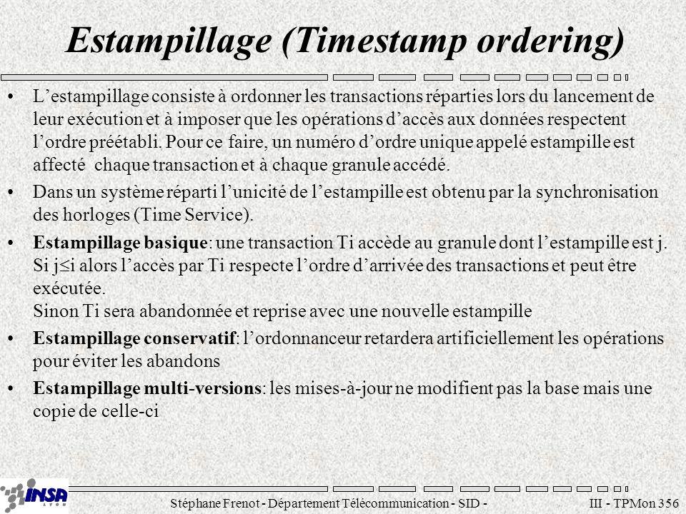 Stéphane Frenot - Département Télécommunication - SID - stephane.frenot@insa-lyon.fr III - TPMon 356 Estampillage (Timestamp ordering) Lestampillage c