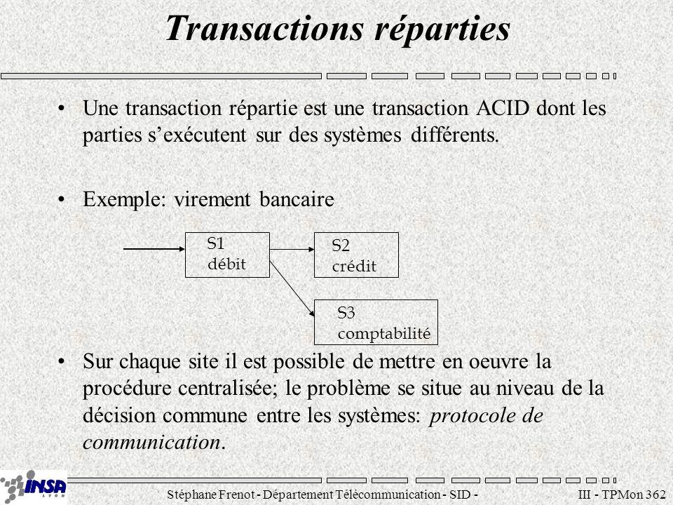 Stéphane Frenot - Département Télécommunication - SID - stephane.frenot@insa-lyon.fr III - TPMon 362 Transactions réparties Une transaction répartie e