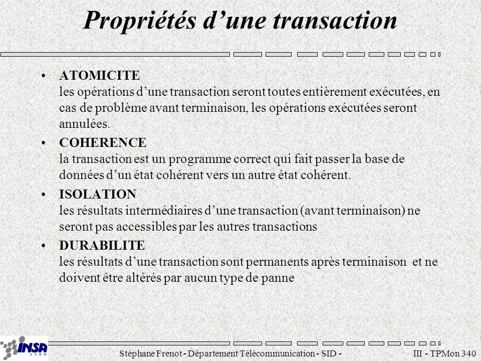 Stéphane Frenot - Département Télécommunication - SID - stephane.frenot@insa-lyon.fr III - TPMon 340 Propriétés dune transaction ATOMICITE les opérati