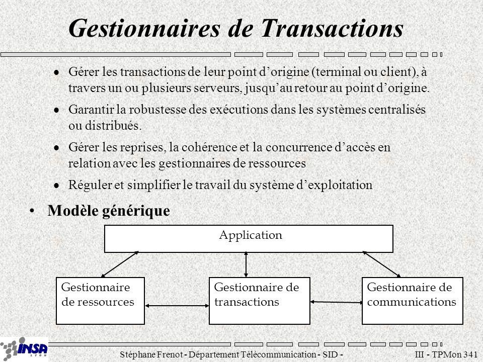 Stéphane Frenot - Département Télécommunication - SID - stephane.frenot@insa-lyon.fr III - TPMon 362 Transactions réparties Une transaction répartie est une transaction ACID dont les parties sexécutent sur des systèmes différents.