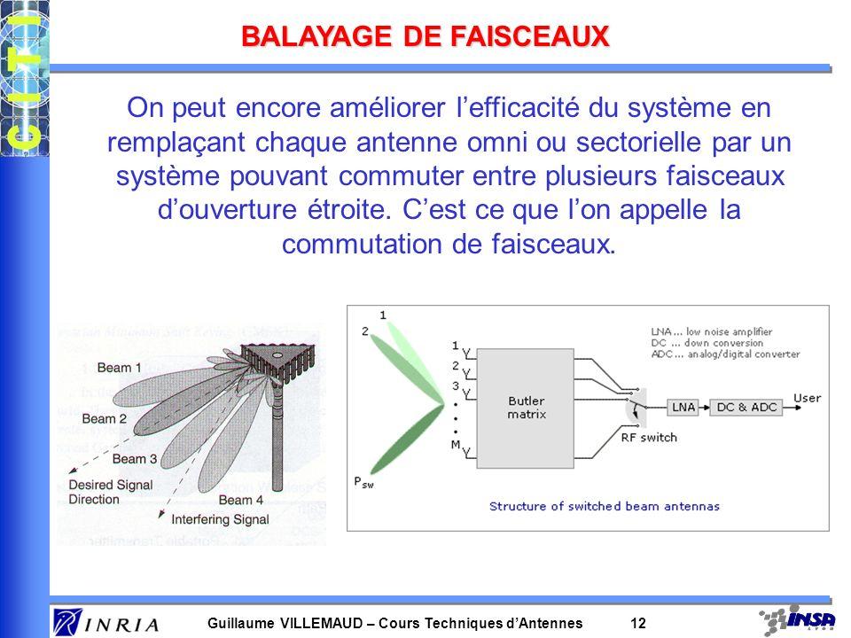 Guillaume VILLEMAUD – Cours Techniques dAntennes 11 UTILISATION DE DIVERSITE SPATIALE Techniques de diversité spatiale mais aussi fréquentielle, tempo