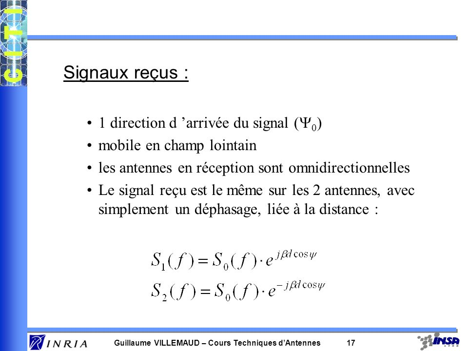 Guillaume VILLEMAUD – Cours Techniques dAntennes 16 Deux signaux reçus, décalés (déphasés) DIFFERENCE DE TRAJET SUR 2 ANTENNES