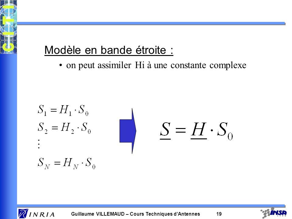 Guillaume VILLEMAUD – Cours Techniques dAntennes 18 Modèle plus général : N capteurs chaque capteur reçoit un signal modifié par le canal fonction de
