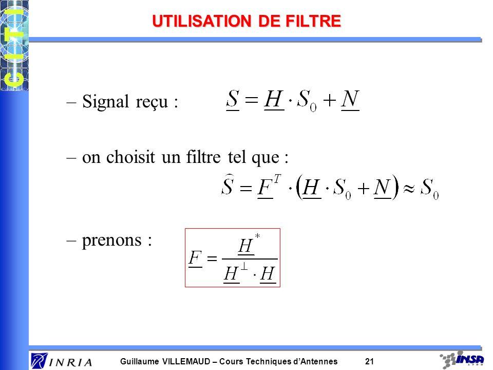 Guillaume VILLEMAUD – Cours Techniques dAntennes 20 Combinaison dans un environnement de bruit blanc PRISE EN COMPTE DU BRUIT